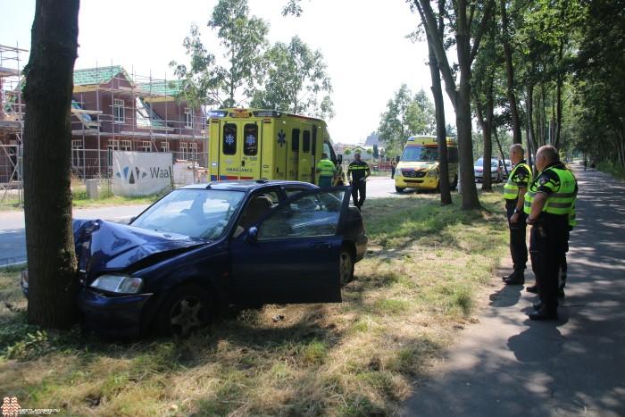Twee gewonden na frontale botsing tegen boom