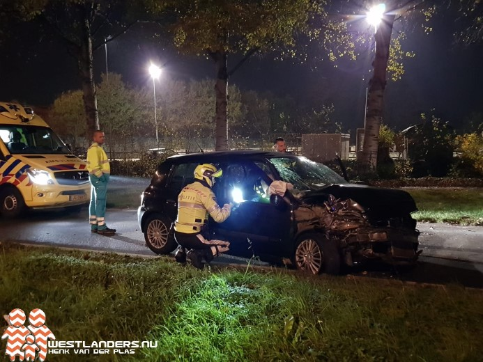 Automobilist gewond na klapper tegen lichtmast
