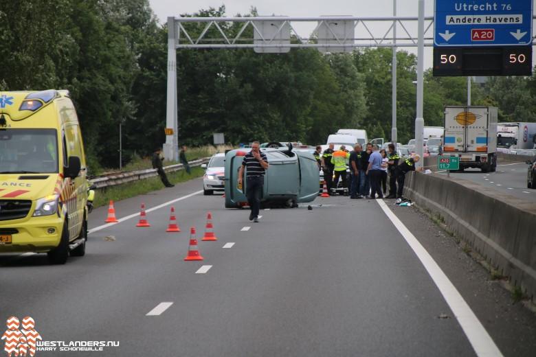 Rijksweg A20 paar uur dicht na ongeluk