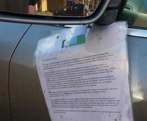 Collegevraag inzake berging autowrakken in Westland