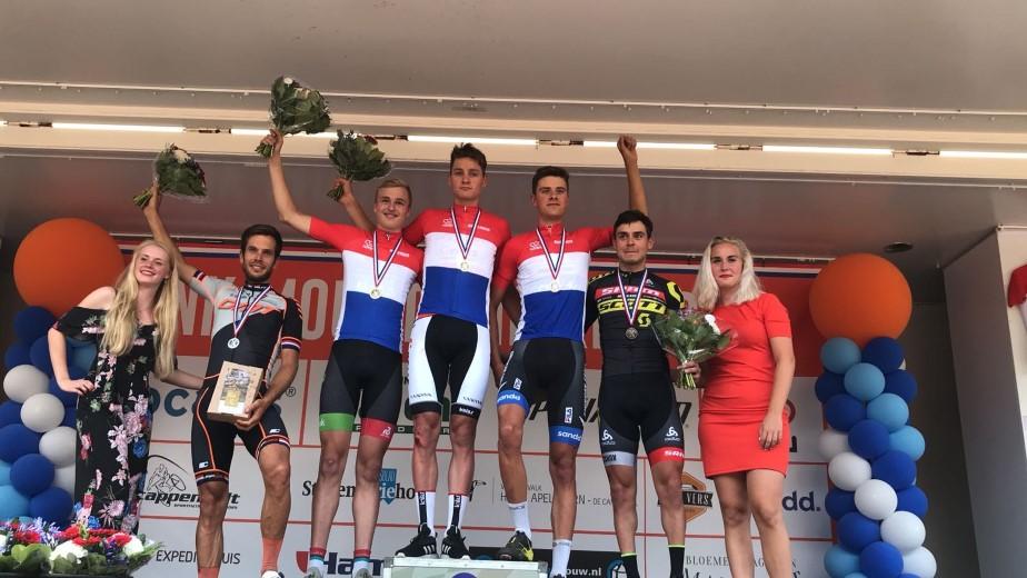 Twan van der Drift wint nationale titel bij Nieuwelingen MTB