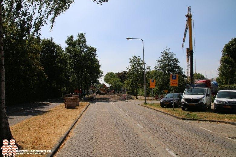 Rijbaanafsluiting Sportlaan in De Lier
