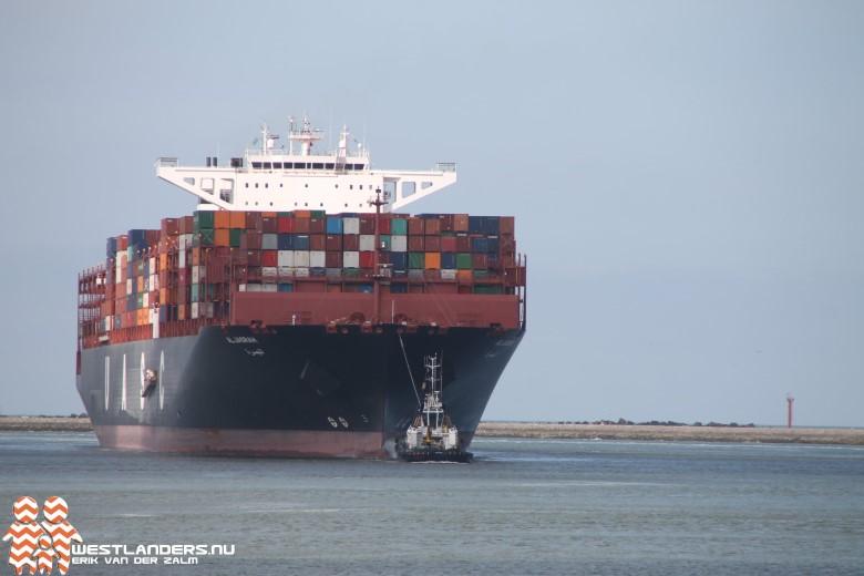 Maidentrip grootste containerschip ter wereld naar Rotterdam