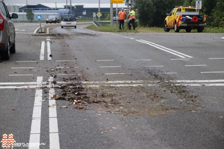 Chauffeur verliest groenafval op N213