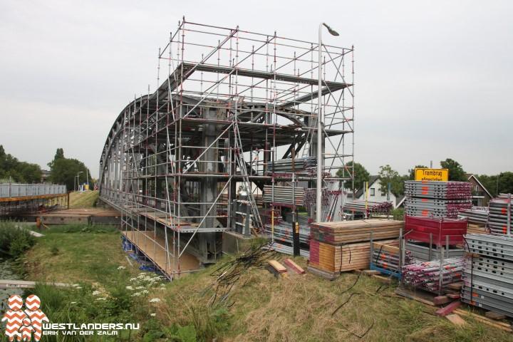 Trambrug in de steigers voor renovatie