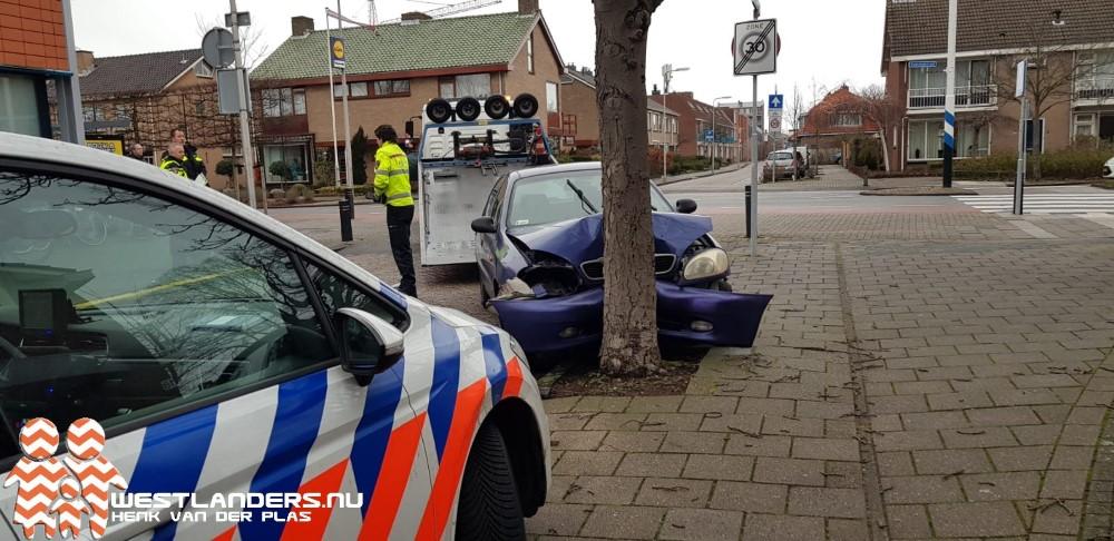 Auto tegen boom geparkeerd