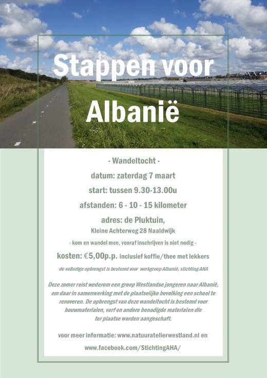 Wandeltocht: Stappen voor Albanië, zaterdag 7 maart