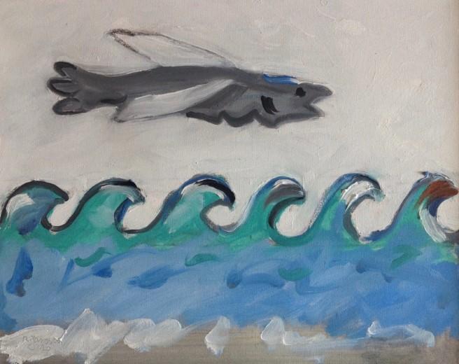 Douanehuisje juli: Golven maken de zee.