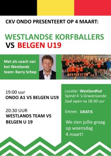 Westlands team speelt tegen Belgische korfballers
