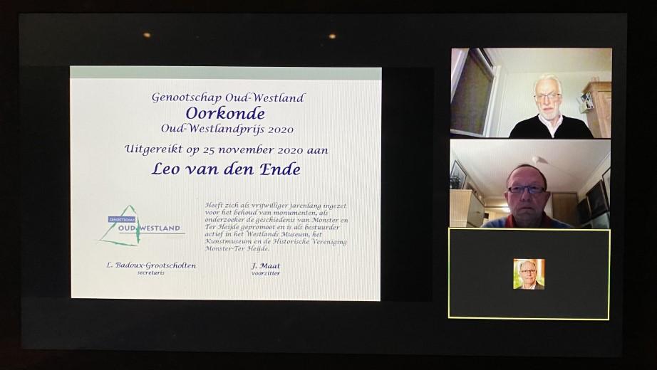 Leo van den Ende winnaar Oud Westlandprijs