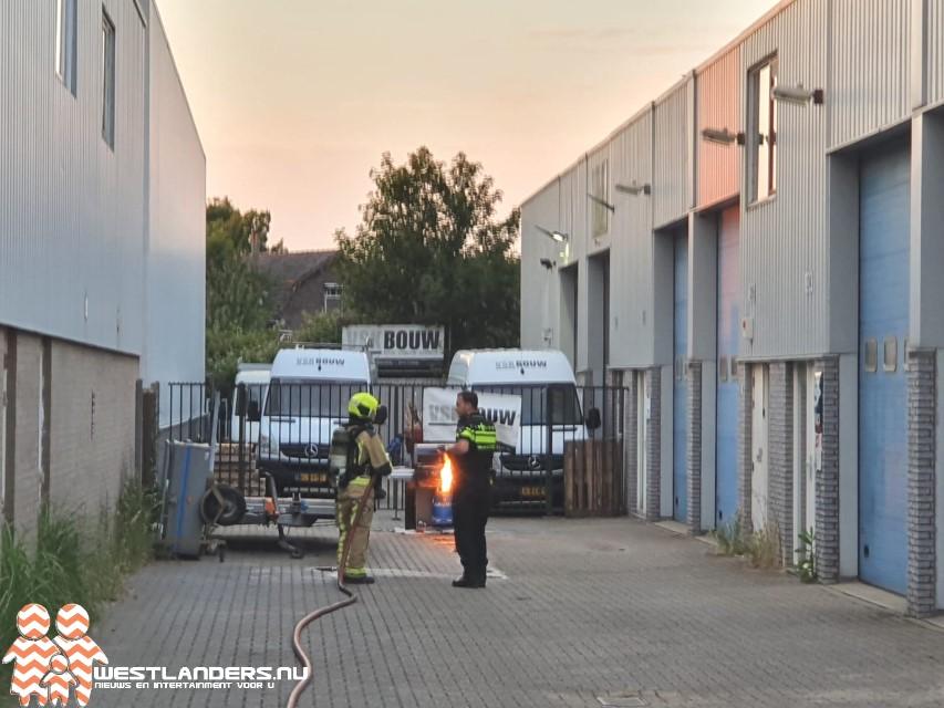 Gasfles ontbrandt bij Vlotlaan