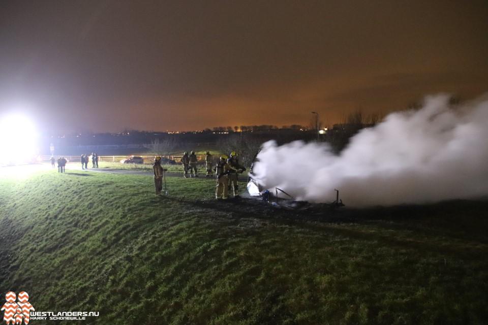 Caravan uitgebrand aan de Lange Wateringkade