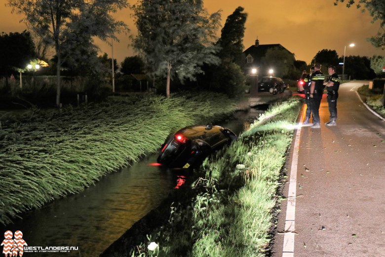 Auto te water aan de Burgerdijkseweg