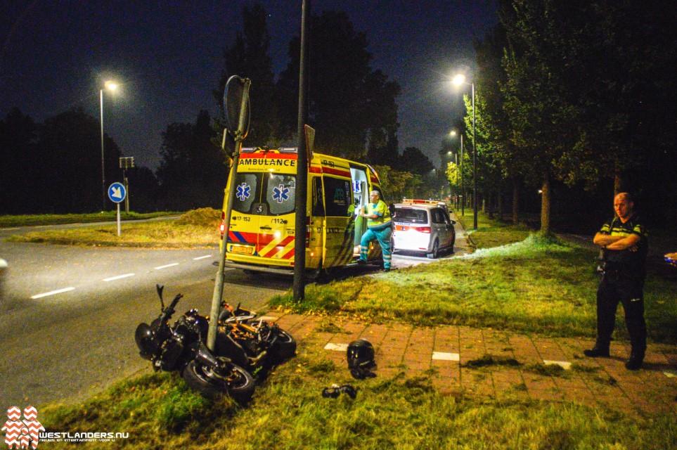 Motorrijder onderuit na uitwijkmanoeuvre