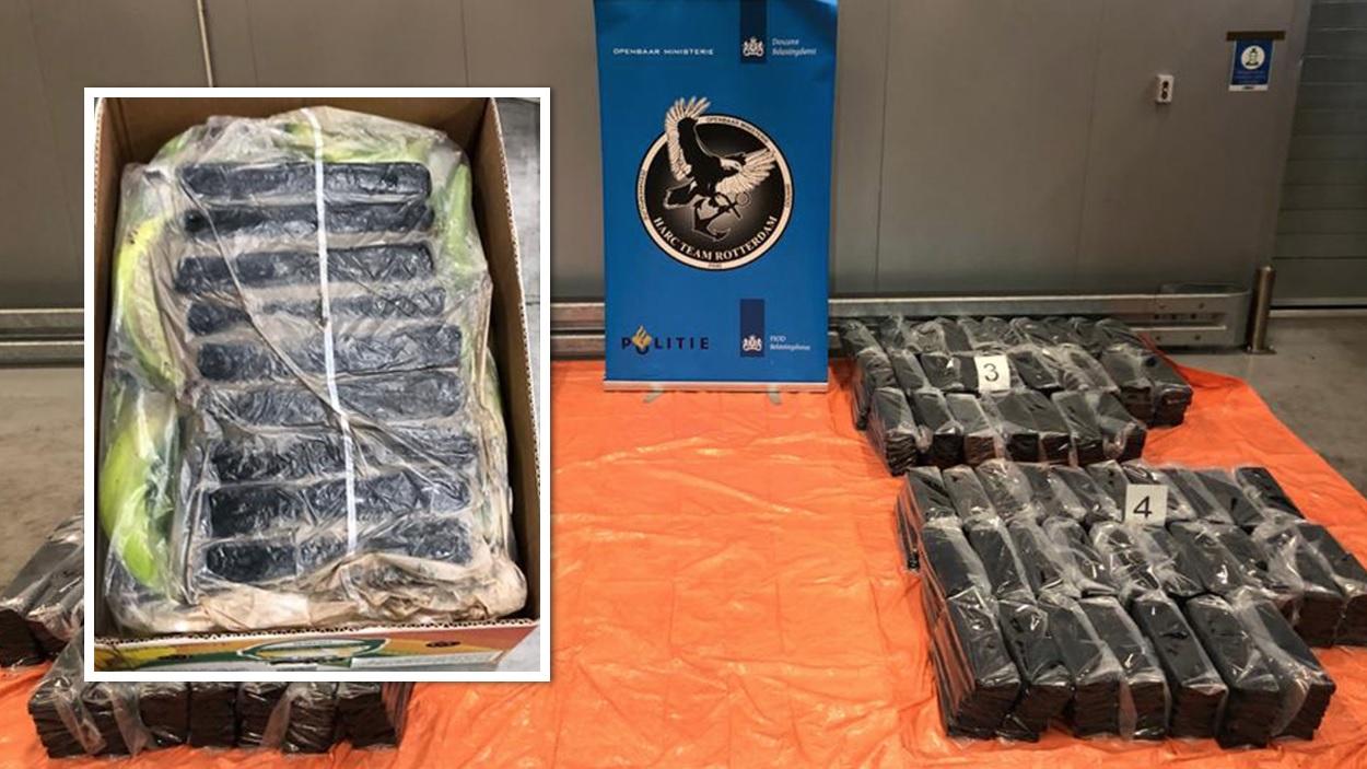 1100 kilo cocaïne tussen bananen