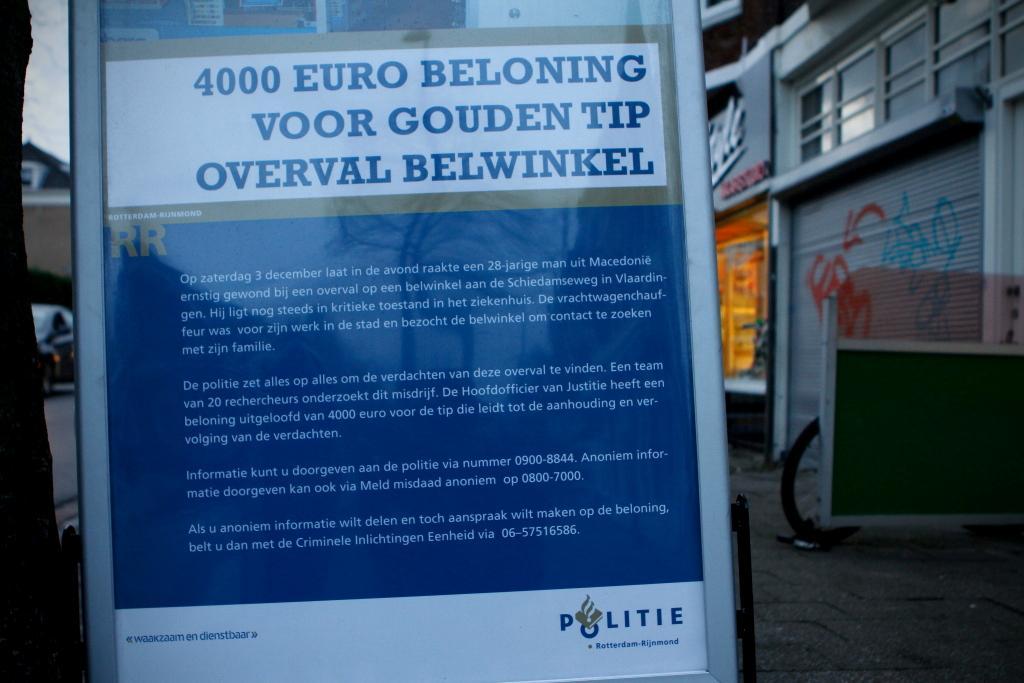 € 4000 beloning voor gouden tip overval